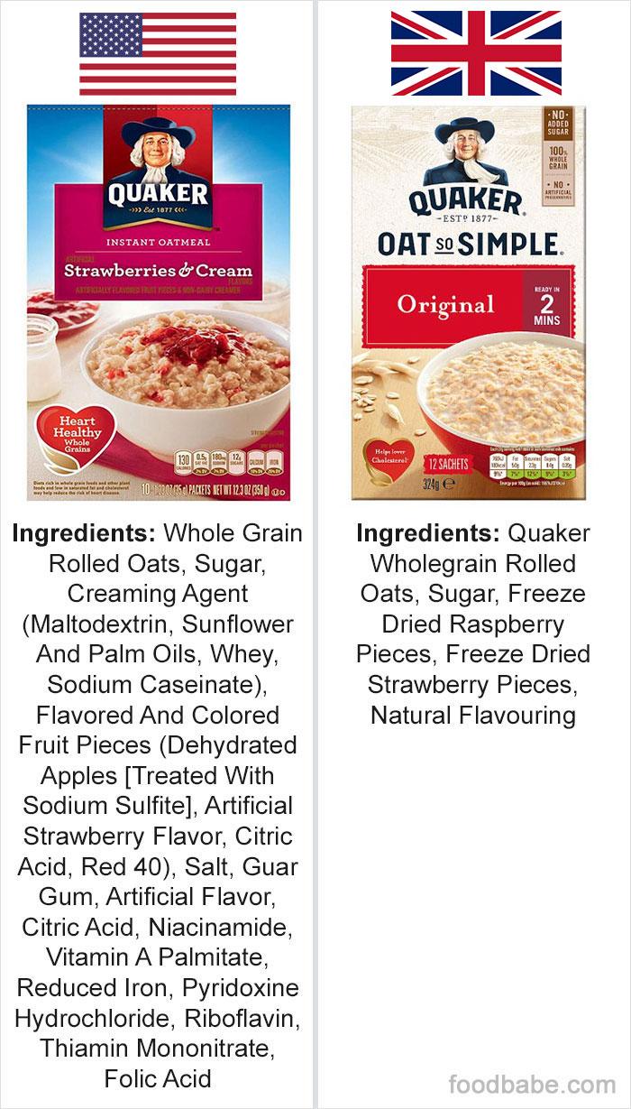 Diferencias entre los mismos alimentos vendidos en EEUU y Reino Unido