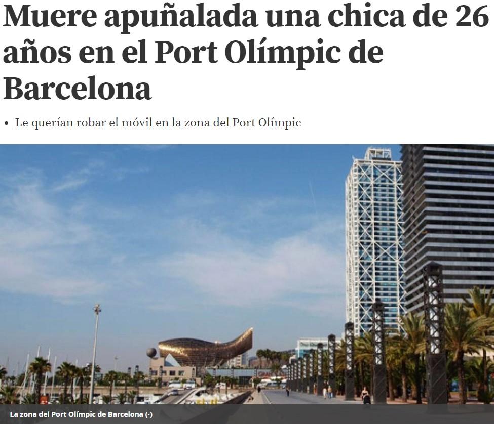 Mujer muere en Barcelona tras ser apuñalada mientras intentaban robarle el móvil