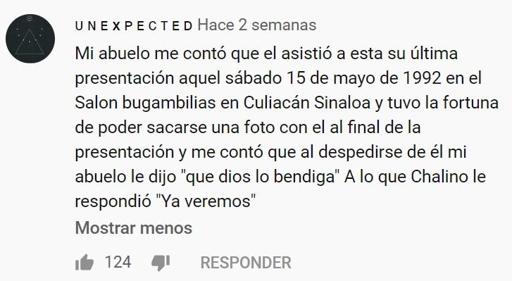 Momento exacto en el que el cantante mexicano Chalino Sánchez recibía una carta amenazándole de muerte y pidiéndole que dejase de cantar