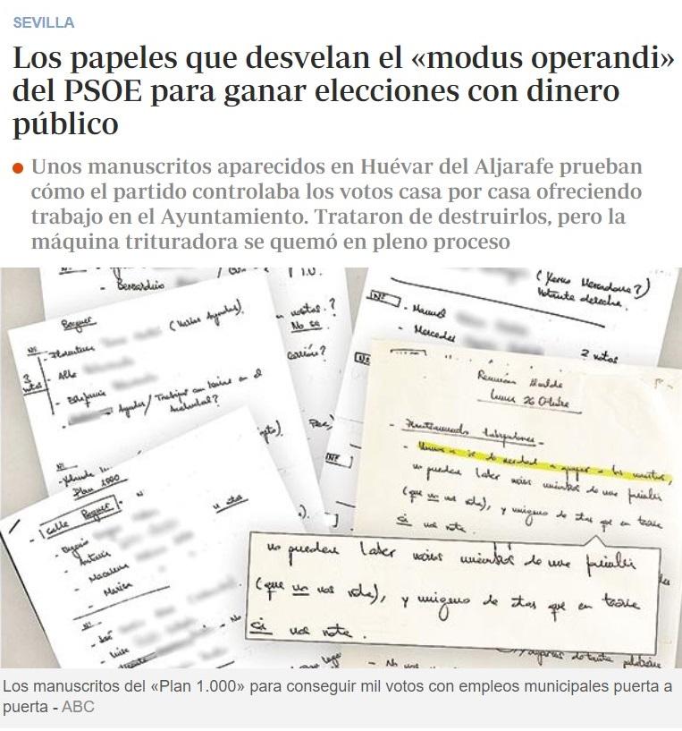 ¿El PSOE comprando votos? No se podía saber...