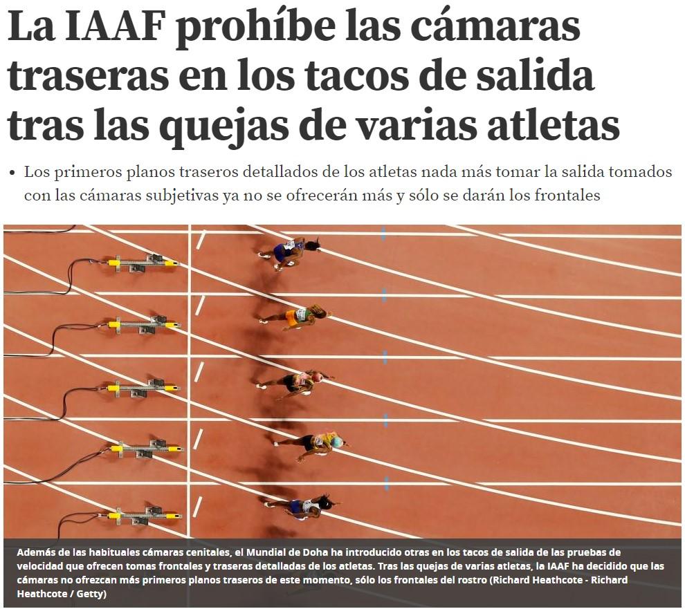 """Las atletas se han quejado de las cámaras que hay detrás de la línea de salida porque """"ven invadida su intimidad"""""""