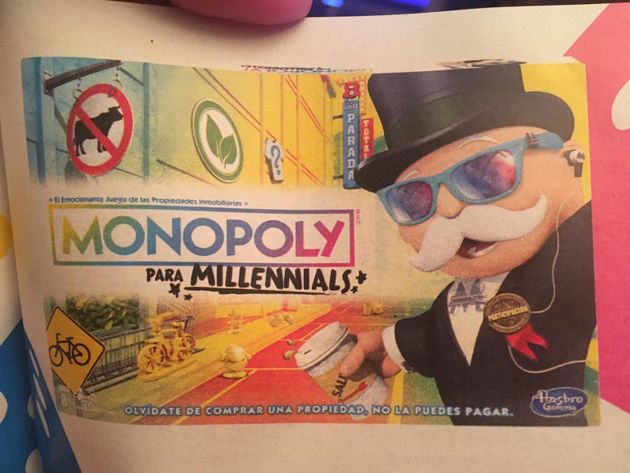 """Monopoly para Millennials """"Olvídate de comprar una propiedad, no la puedes pagar"""" :D"""