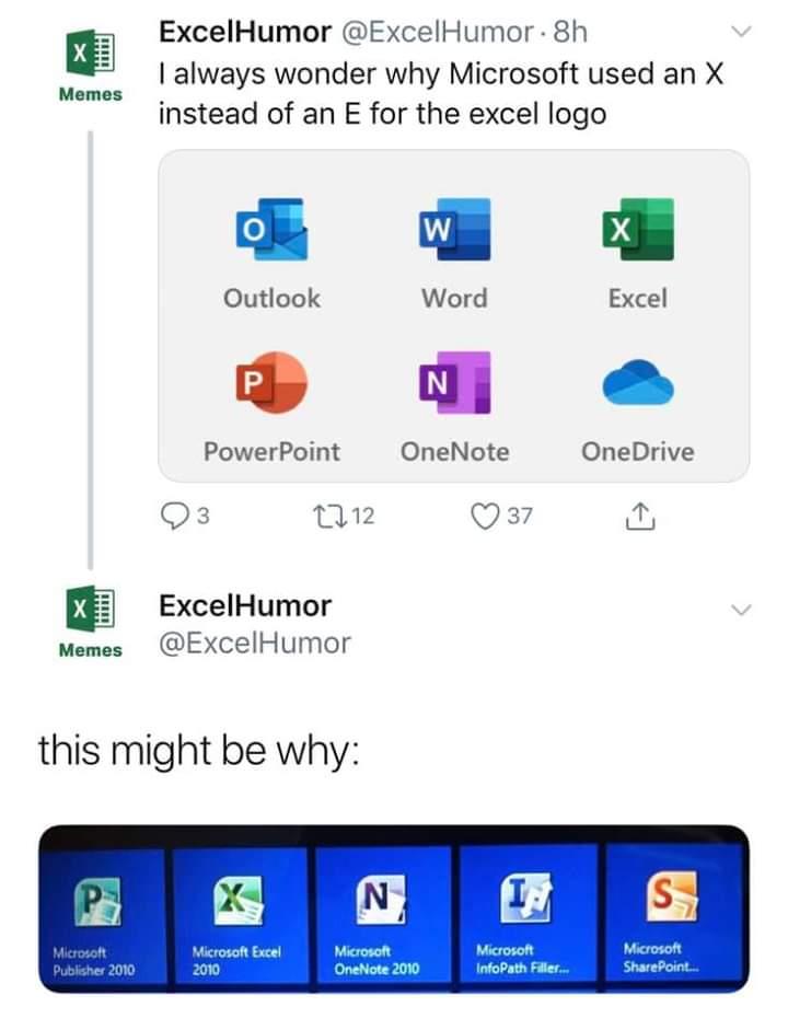 """Mmmm, ¿por qué la letra del icono del Excel no es una """"E""""?"""