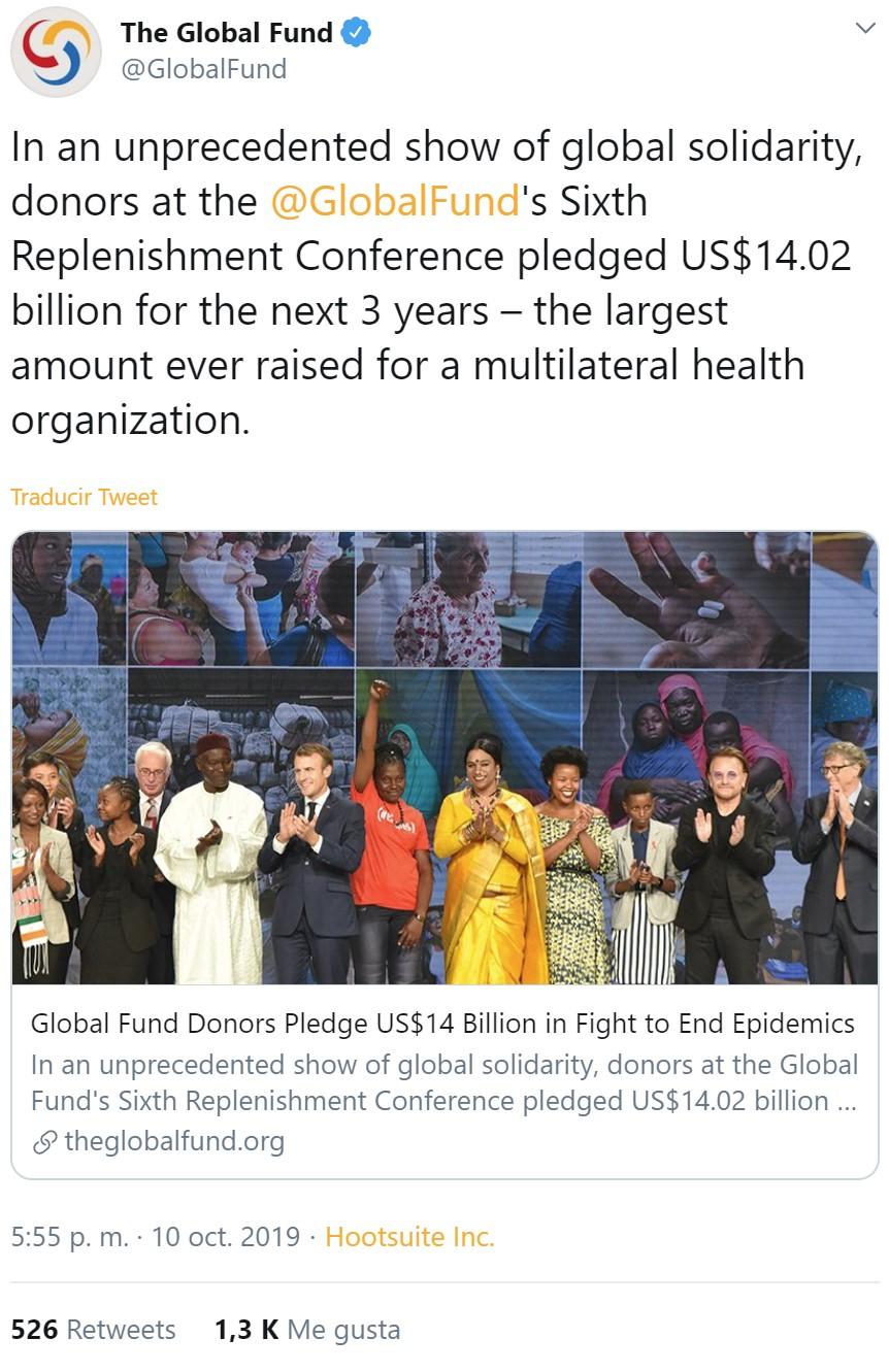 El fondo internacional contra el sida, la malaria y la tuberculosis consigue romper récords al recoger fondos para luchar contra estas enfermedades = 1300 likes