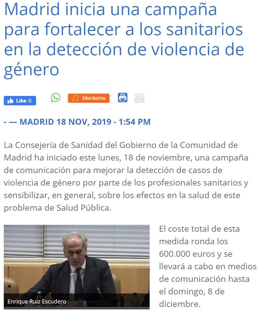 La Comunidad de Madrid invierte 600.000 euros en una campaña para la detección precoz de violencia de género: ¿Te duele la cabeza? ¿te cuesta dormir? Seguramente sea violencia de género.