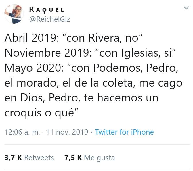 Ahora PDRO tendrá que ponerse de acuerdo con Podemos, pero además con el PNV, Más País, Teruel Existe, John Nieve, los Decépticons, y el manager de Cristiano Ronaldo.
