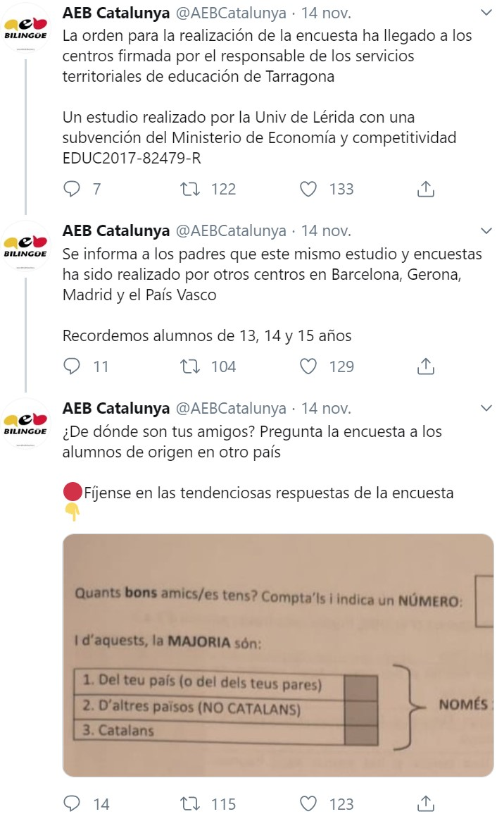 Institutos de Tarragona obligan a realizar una encuesta a alumnos de 2º,3º y 4º ESO donde les piden