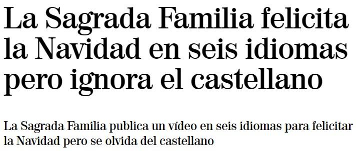 La Sagrada Familia tira de multiculturalidad y felicita la navidad en 6 idiomas... entre los que no está el castellano
