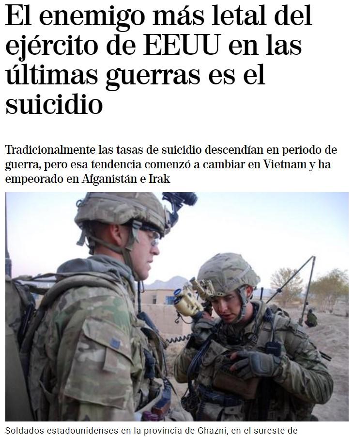 EE.UU. va a tener que declararle la guerra al suicidio, porque es el enemigo que más soldados caídos deja