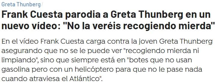 """Frank Cuesta ataca a Greta Thunberg: """"No vais a ver a este bicho recogiendo miеrda"""""""