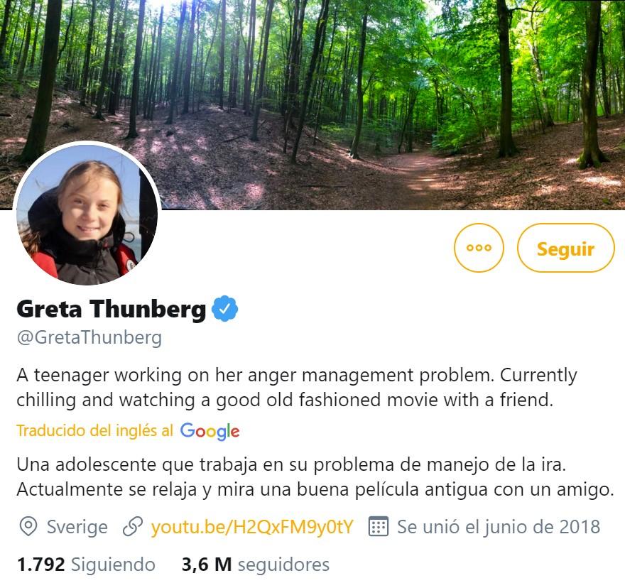 """La nueva BIO de Greta Thunberg en Twitter es el """"troll trolled"""" del año"""