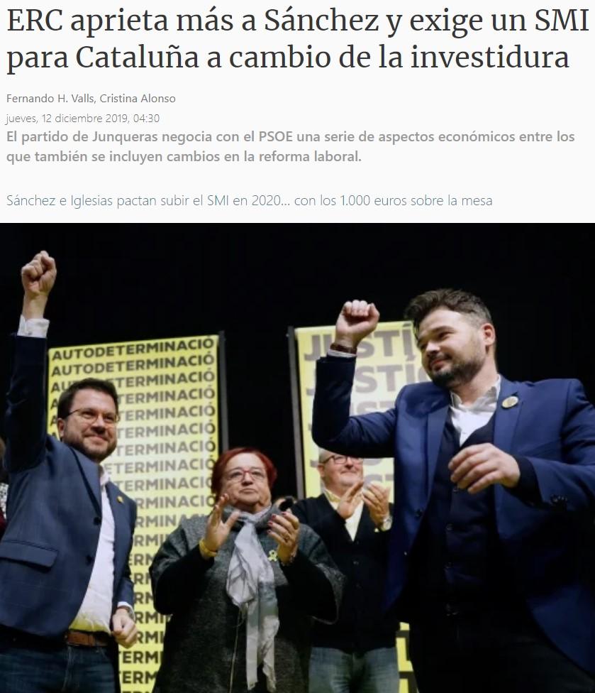 Baya, no me lo experava... ERC pide un SMI catalán de 1.239,5€, un 40% superior al estatal.