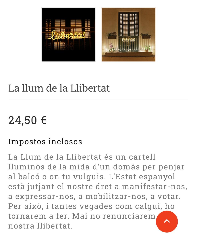 Omnium cultural promociona la venta de un panel luminoso en todas sus redes en el que pone Llibertat