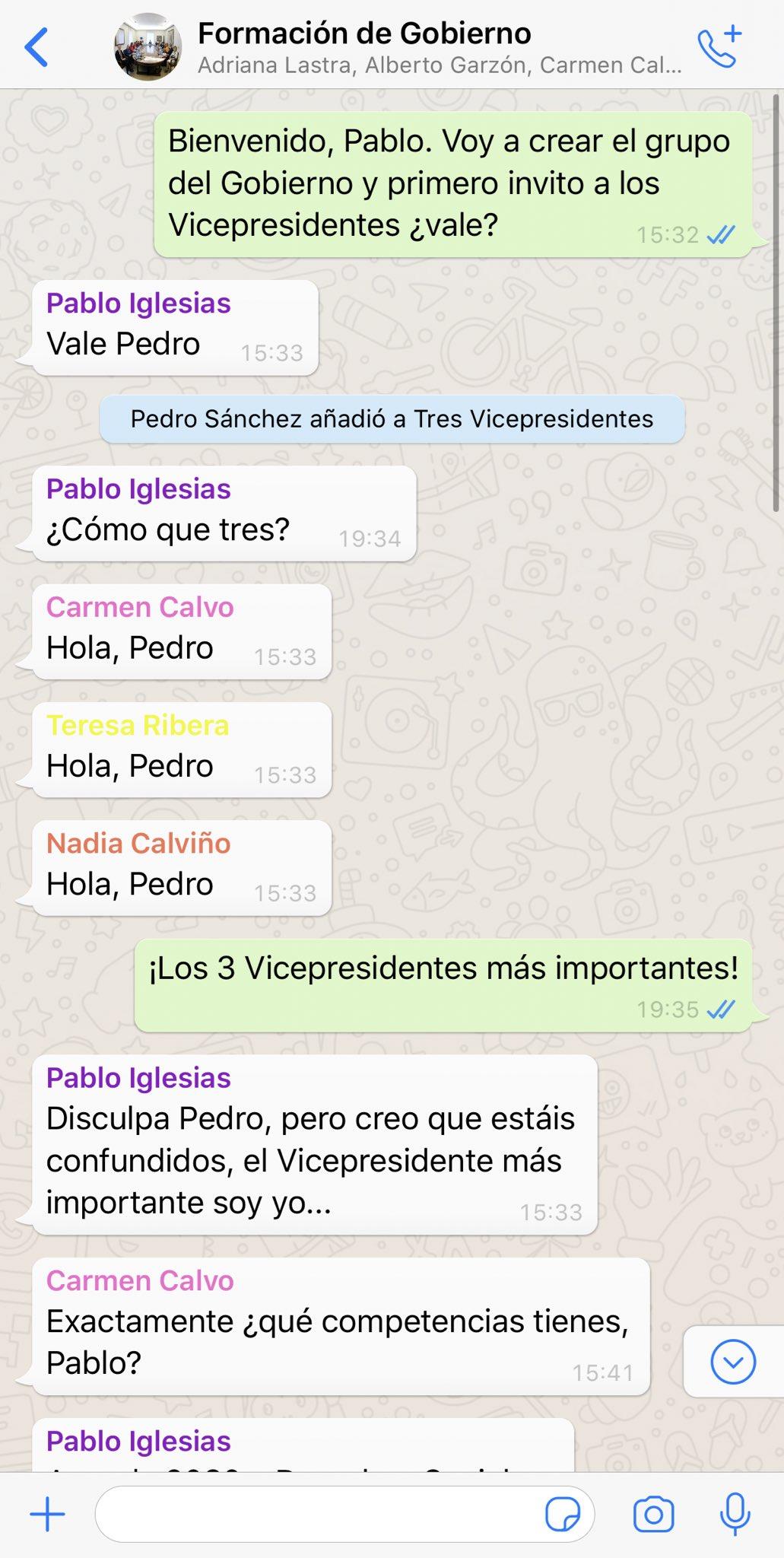 ¿Os imagináis el Whatsapp del Gobierno de Sánchez e Iglesias?