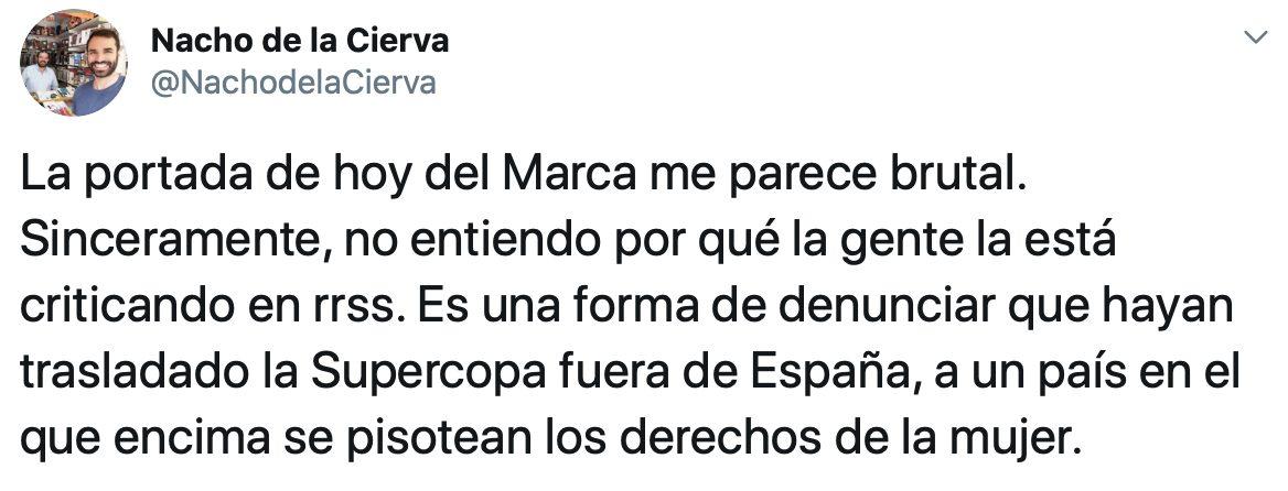 Ante la inminente final de Supercopa de España que se disputará este domingo en Arabia Saudí, Marca ha publicado esta portada