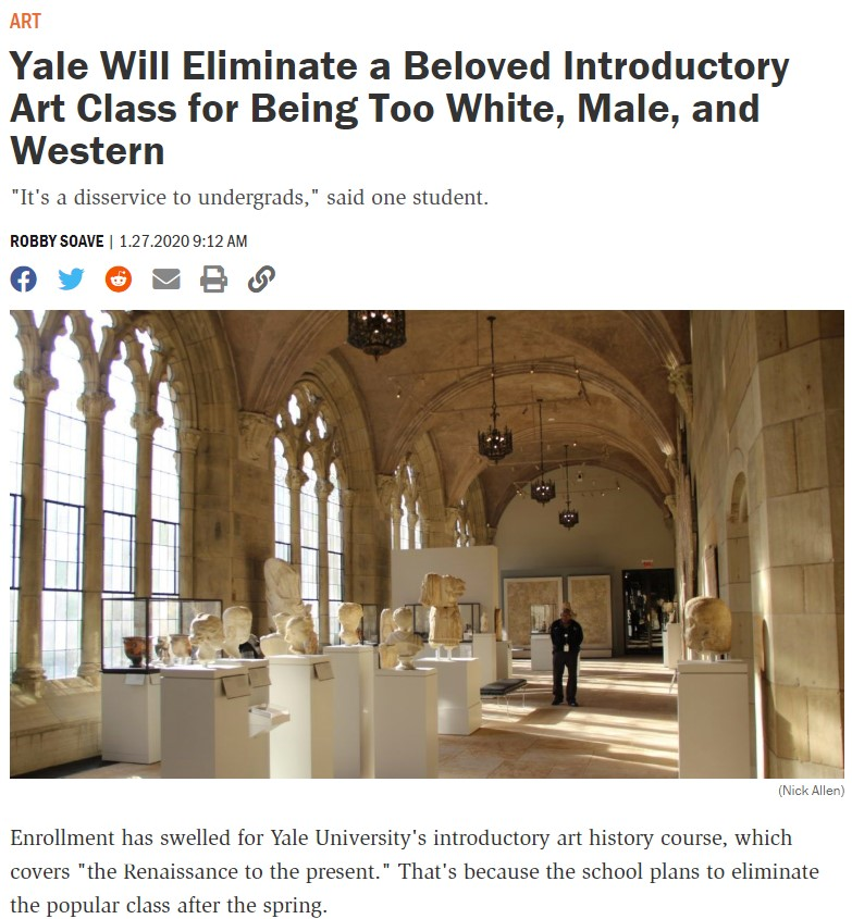 """Yale elimina una clase de introducción al arte del Renacimiento debido a lo """"abrumadoramente Blanco, Masculino, Occidental y Heterosexual de sus artistas"""", lo que podía hacer sentir incómodos a los alumnos"""