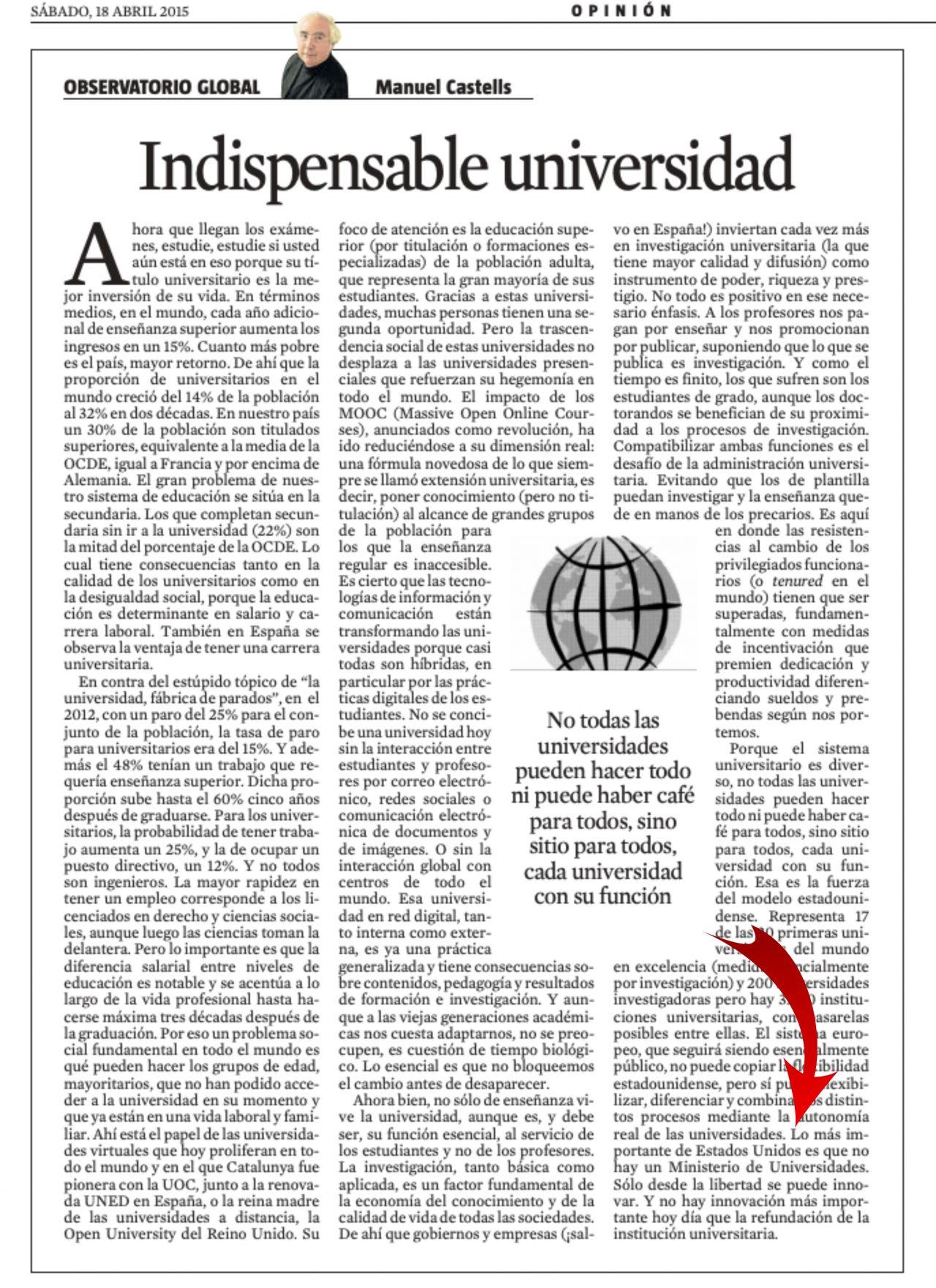"""Manuel Castells: """"Lo más importante de Estados Unidos es que no hay un Ministerio de Universidades"""""""