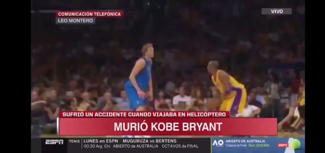 ESPN Argentina da la noticia de la muerte de Kobe Bryant con un recopilatorio de sus fallos de fondo...