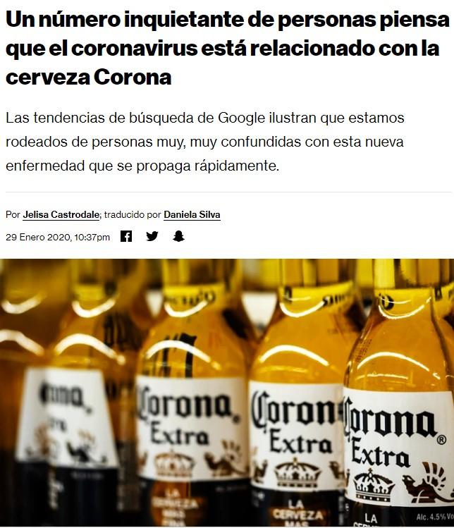 Parece ridículo, pero la crisis del coronavirus está afectando negativamente a la cerveza Corona/Coronita