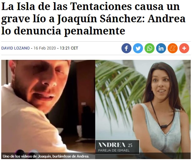 """Joaquín es denunciado por parodiar a """"la bizca de La Isla de las Tentaciones"""""""