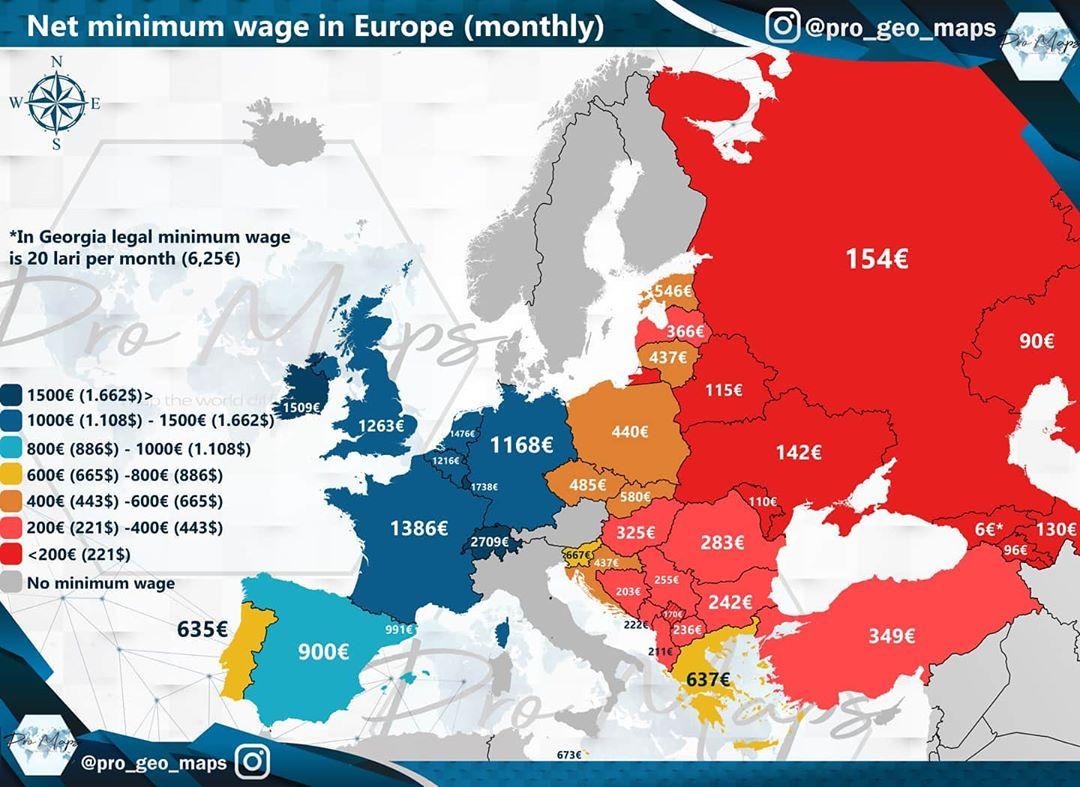 Salario mínimo en el resto de Europa