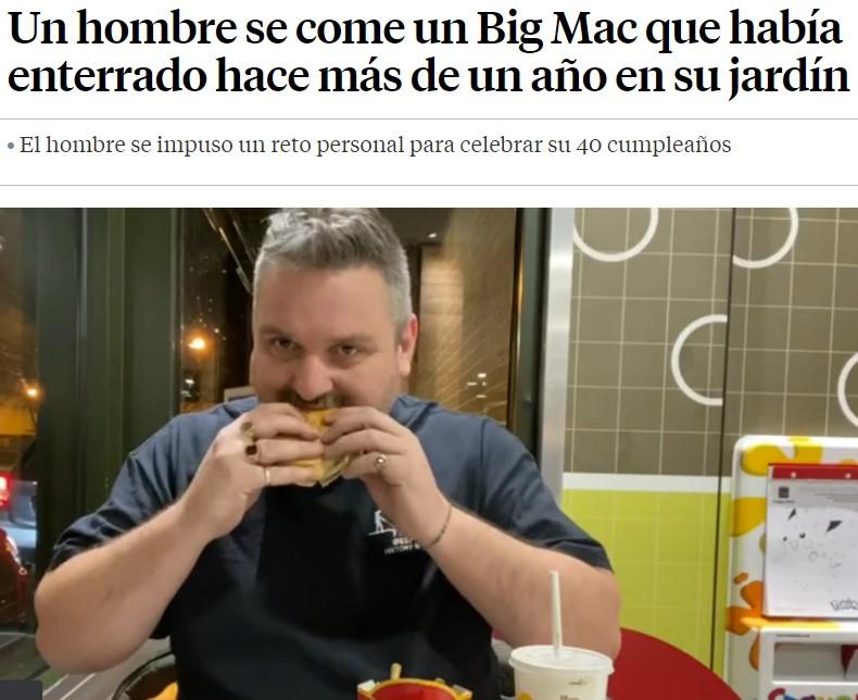Nuevo reto viral: McDonald's 365 Challenge. Entierras una hamburguesa del McDonald's, esperas un año, la desentierras y te la comes