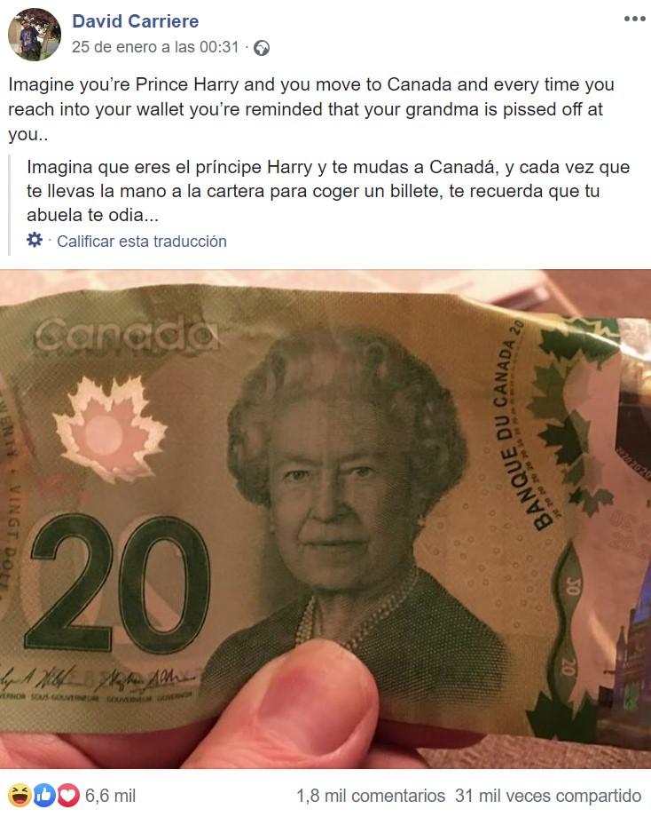 El Príncipe Harry en Canadá nunca llevaría efectivo...