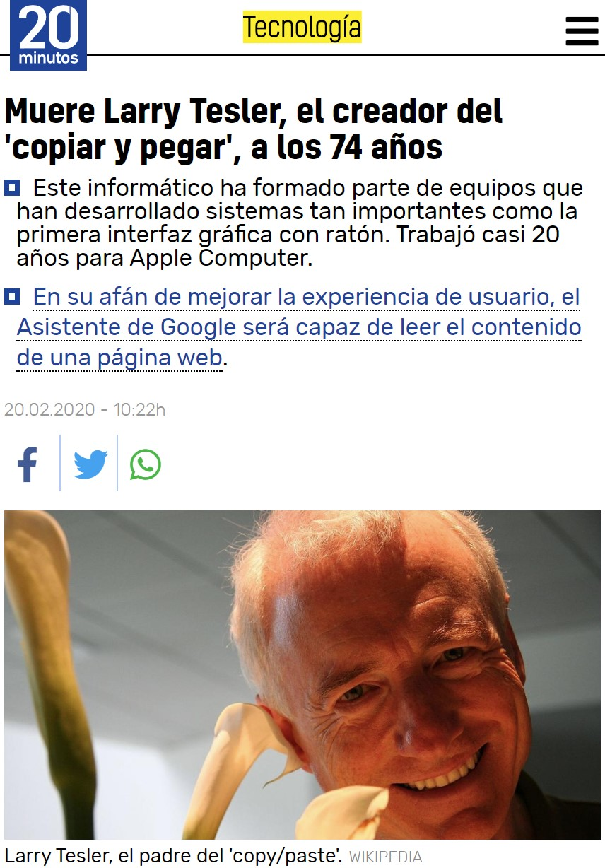Muere el inventor del Copy-paste :c