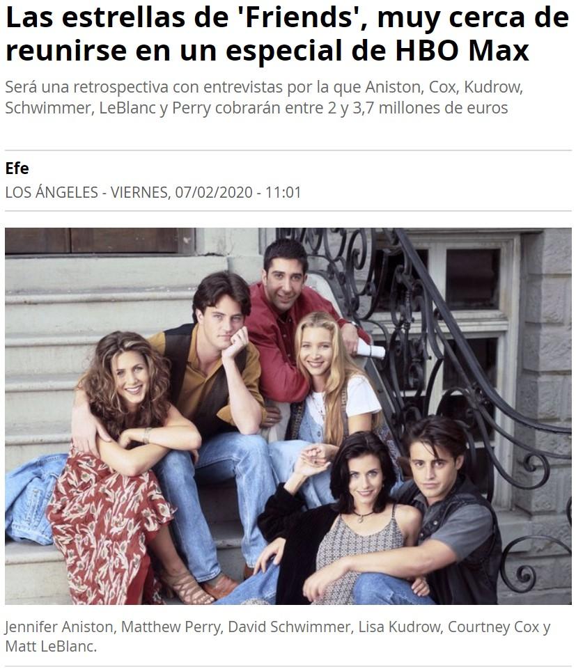 Casi 4 millones por reunir a los protagonistas de Friends una última vez