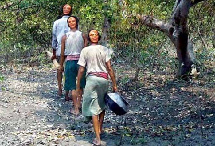 ¿Sabías que aldeanos indios usan caretas en la nuca para evitar que los tigres les ataquen por la espalda?