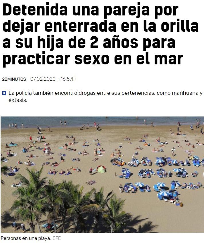 Dejan a su hija de 2 años enterrada en la arena para ir al mar a practicar secso