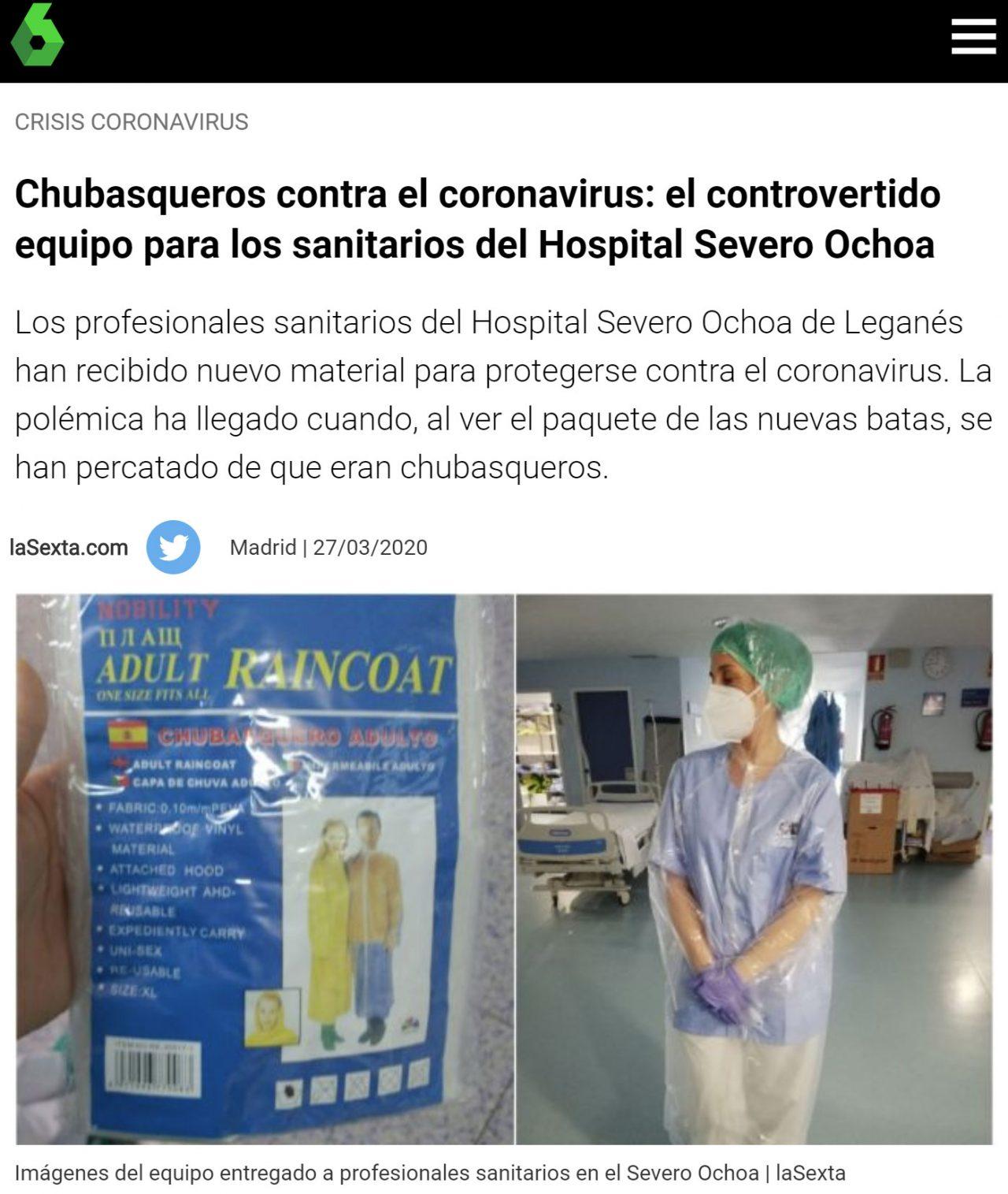 Chubasqueros en lugar de batas en los hospitales madrileños