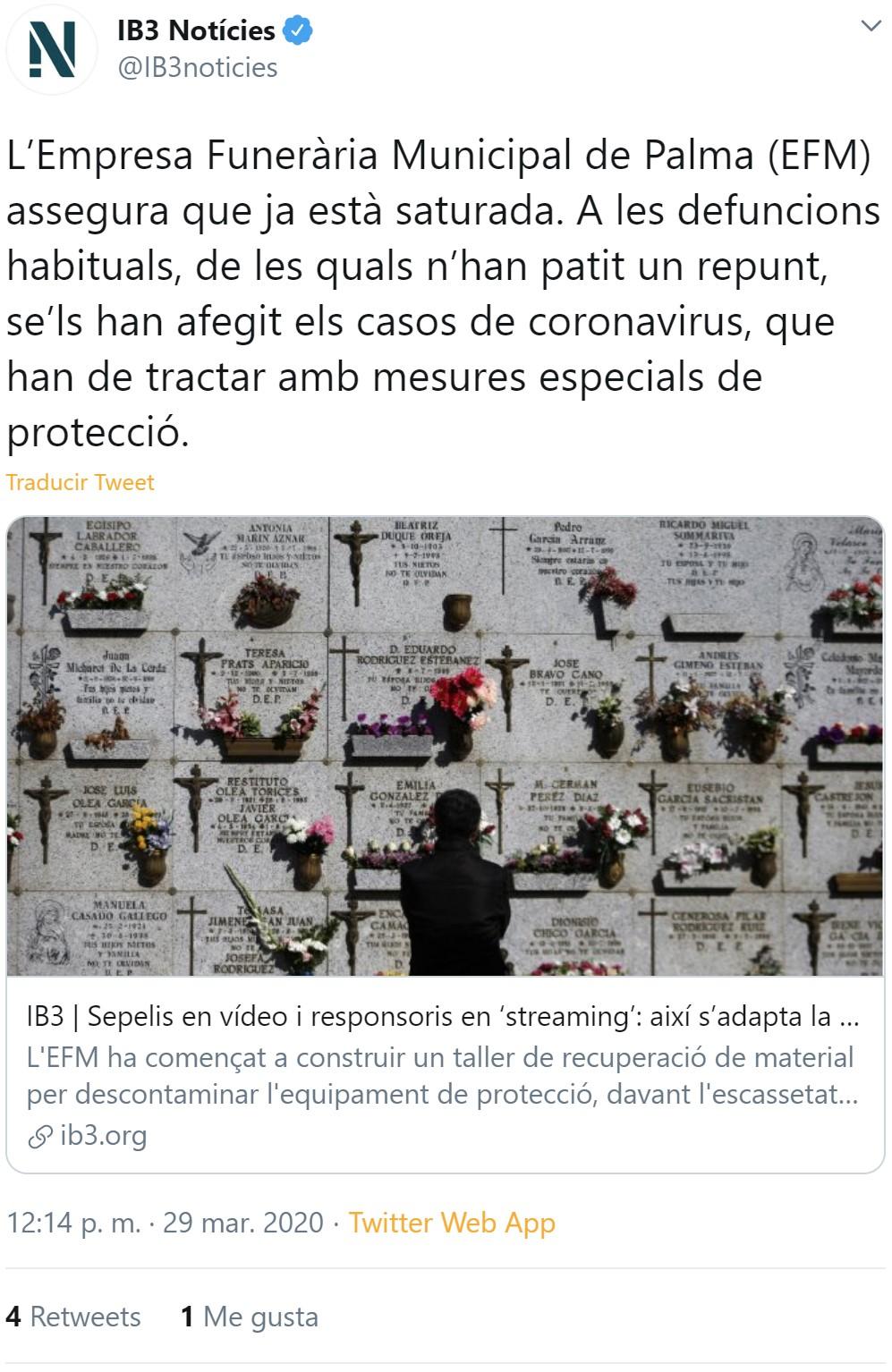 La empresa funeraria municipal de Palma está saturada, pero según el gobierno solo han muerto 32 personas por coronavirus en 15 días entre todas las islas...