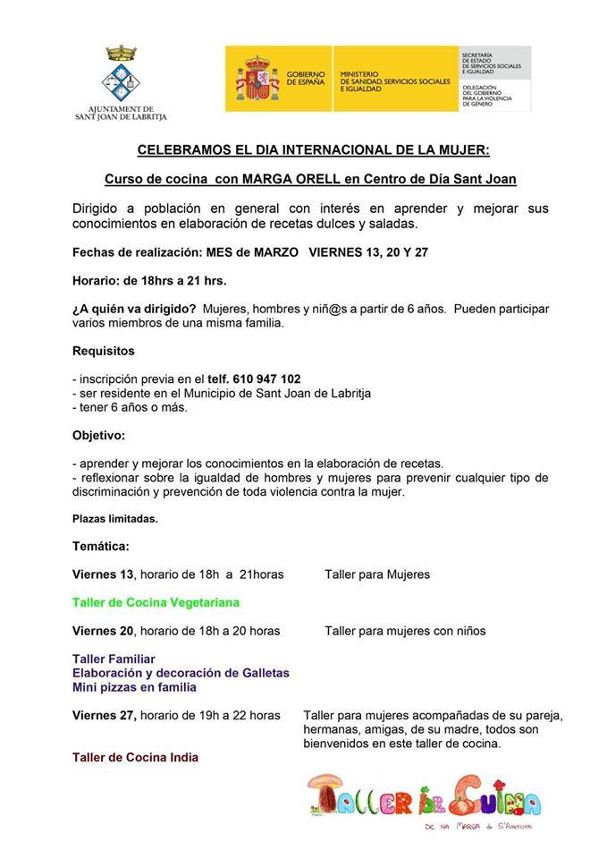 Un ayuntamiento de Ibiza celebra el Día de la Mujer con un curso de cocina y los de PSOE lo tachan de indignante