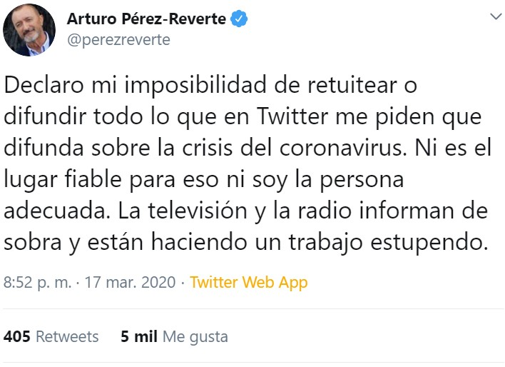 Creo que han secuestrado a Pérez-Reverte...
