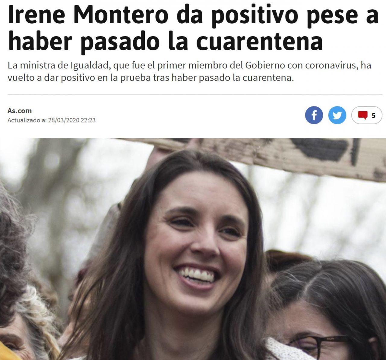 Irene Montero ha vuelto a dar positivo