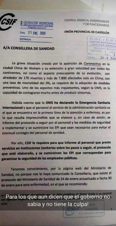 """La Central Sindical Independiente y de Funcionarios pidió <span style=""""color: #ff0000;"""">en enero</span> al estado EPIS y protocolos para actuar contra el coronavirus"""