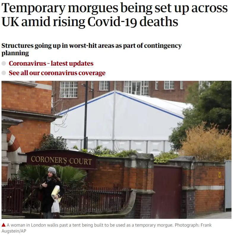 Imagina tener más de 60 años, vivir en UK, y ver cómo están colocando morgues temporales en los barrios con más gente mayor