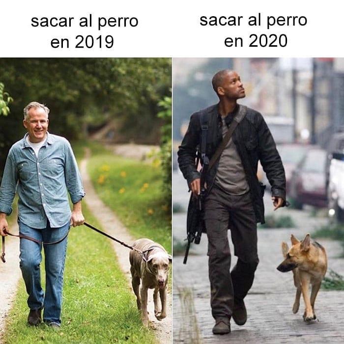 Ahora si tienes perro cada vez que lo sacas a pasear estás haciendo un cosplay de Soy Leyenda