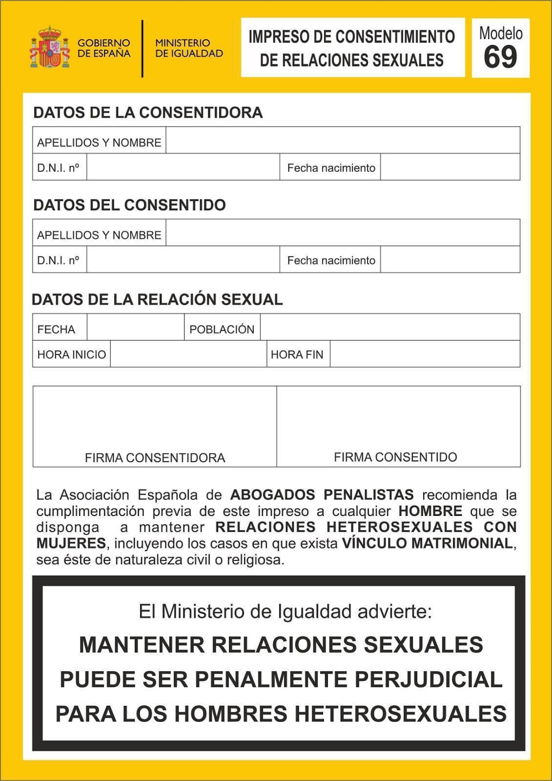 Ya llegó el modelo 69, un documento oficial para rellenar antes de tener relaciones íntimas consentidas con otra persona