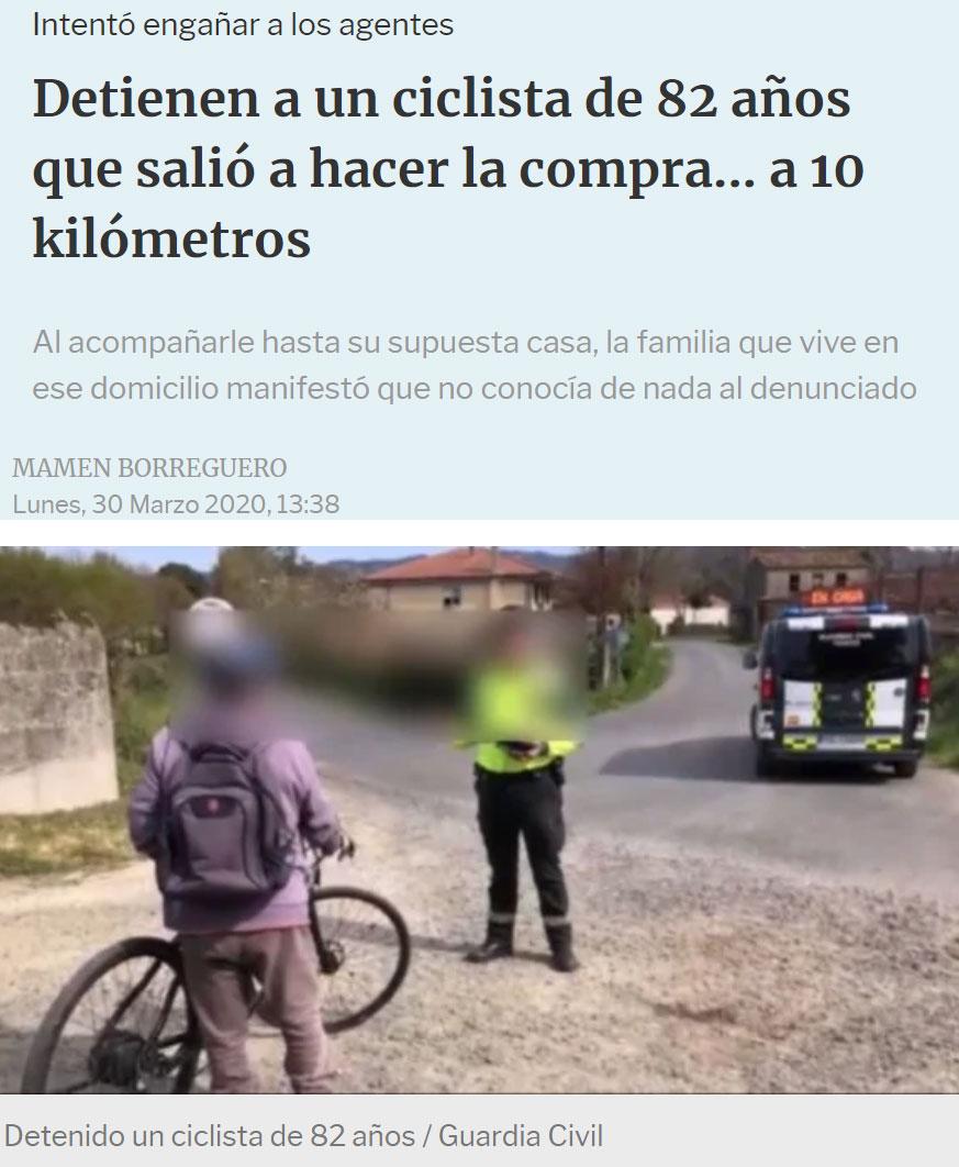 Va a comprar en bici a 10km de su casa, y cuando le dan el alto asegura que vive cerca. Llegan a la casa en la que dijo que vivía y los que están dentro aseguran que no le conocen de nada :D