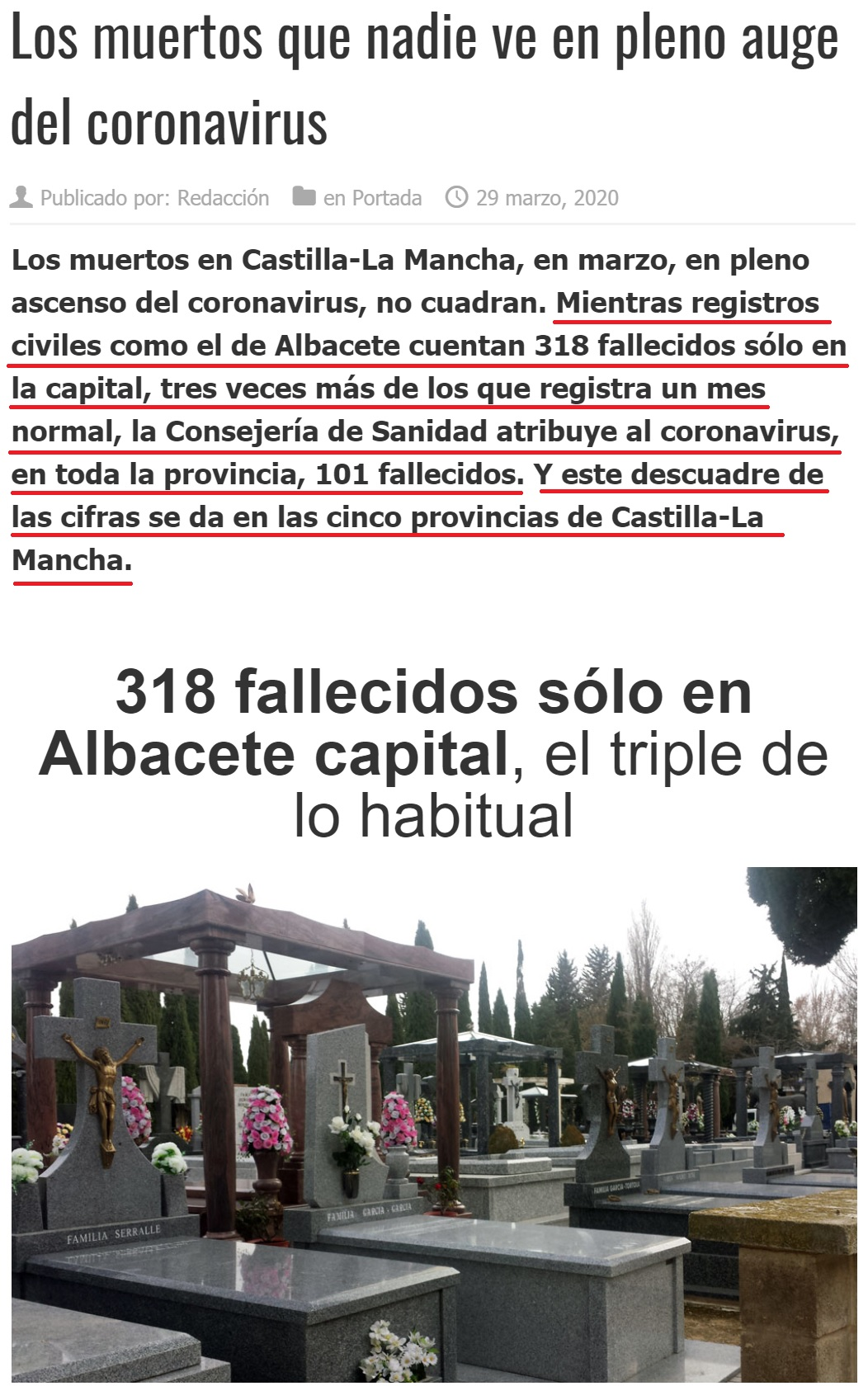 Los muertos en marzo en Castilla-La Mancha no cuadran