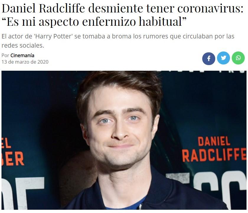 """Raniel Radcliffe: """"No tengo Coronavirus, mi cara es así"""""""