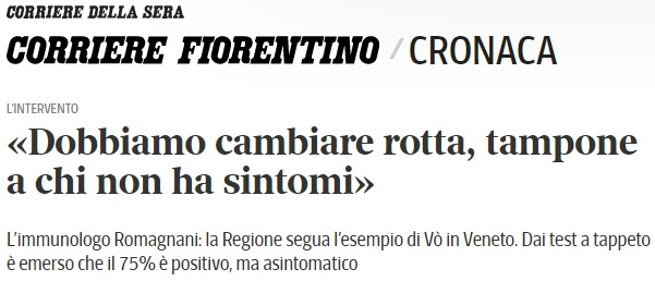 Un epidemiólogo italiano ha hecho un estudio en un pueblo cercano a Venecia, y el resultado es que entre el 50 y el 75% de los positivos por coronavirus son asintomáticos