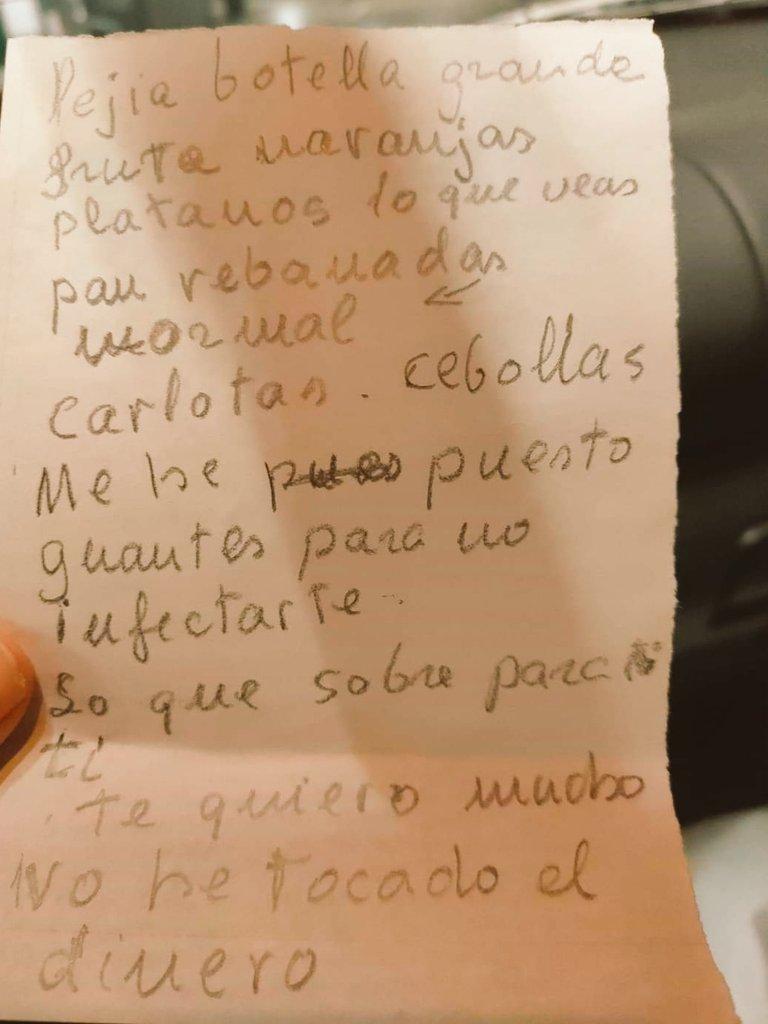 Esta lista es de una señora que no puede salir de casa y una vecina hace por ella la compra.