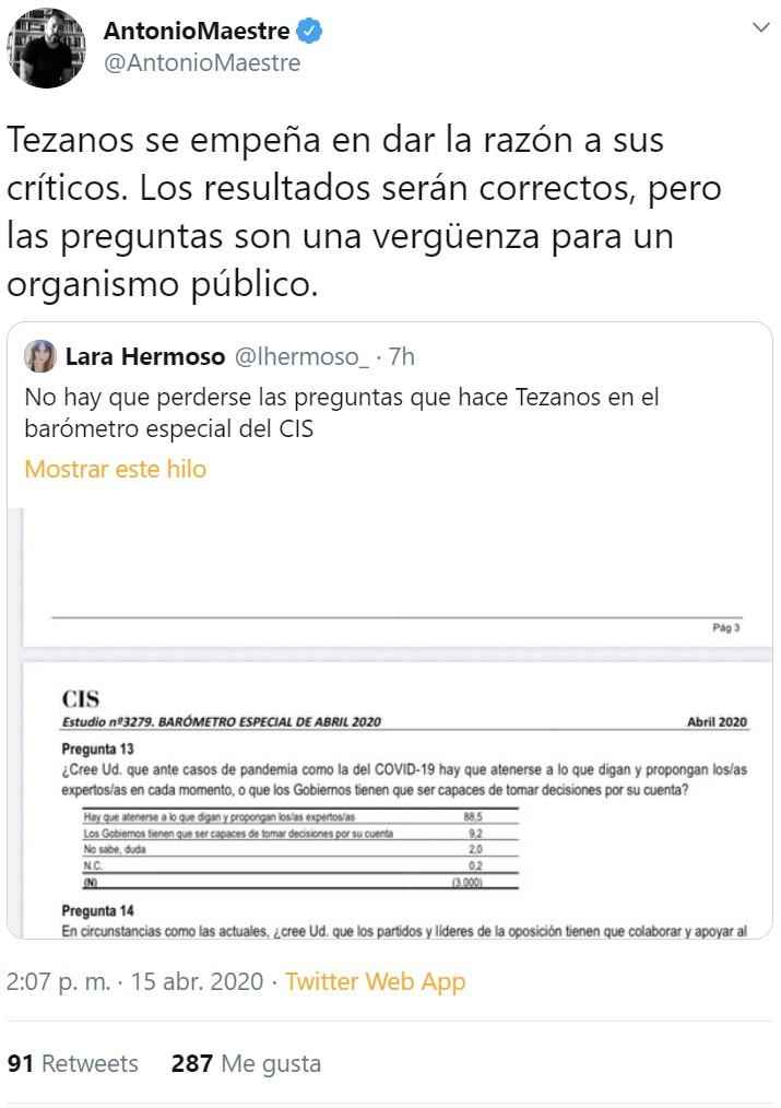 Tezanos publica los resultados de su encuesta en los que la gente es partidaria de la censura. Pero las preguntas... tenían UN POQUITO de truqui