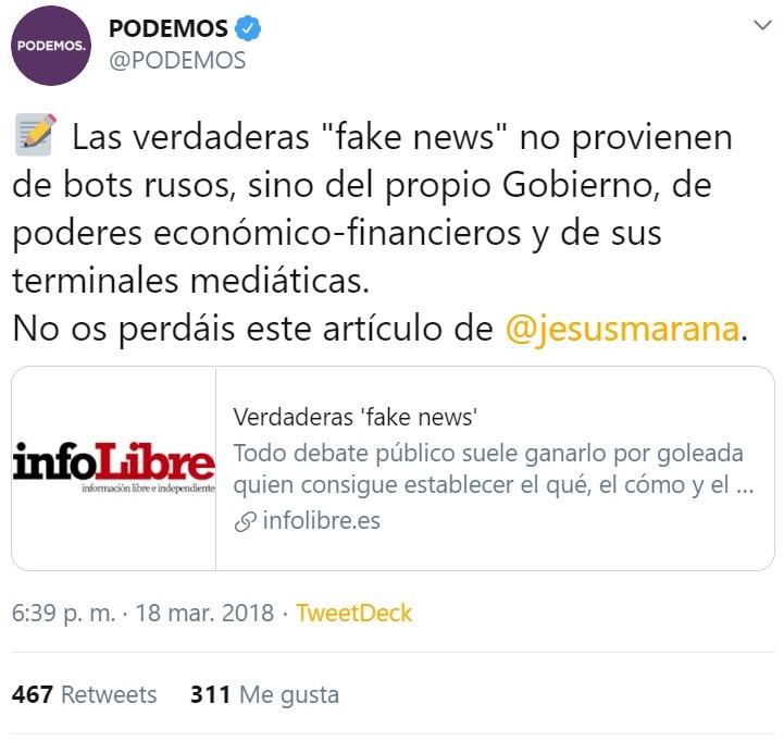 Antes las fake news procedían del Gobierno. Ahora, de todo lo que no cuente con la aprobación del Gobierno.