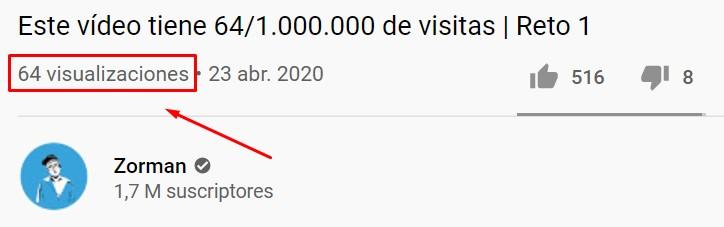 Este vídeo tiene X views / 1.000.000