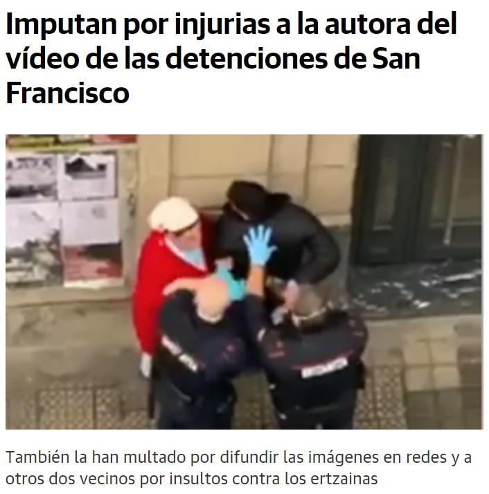 Regalito para la mujer que insultó a los dos ertzainas durante una detención