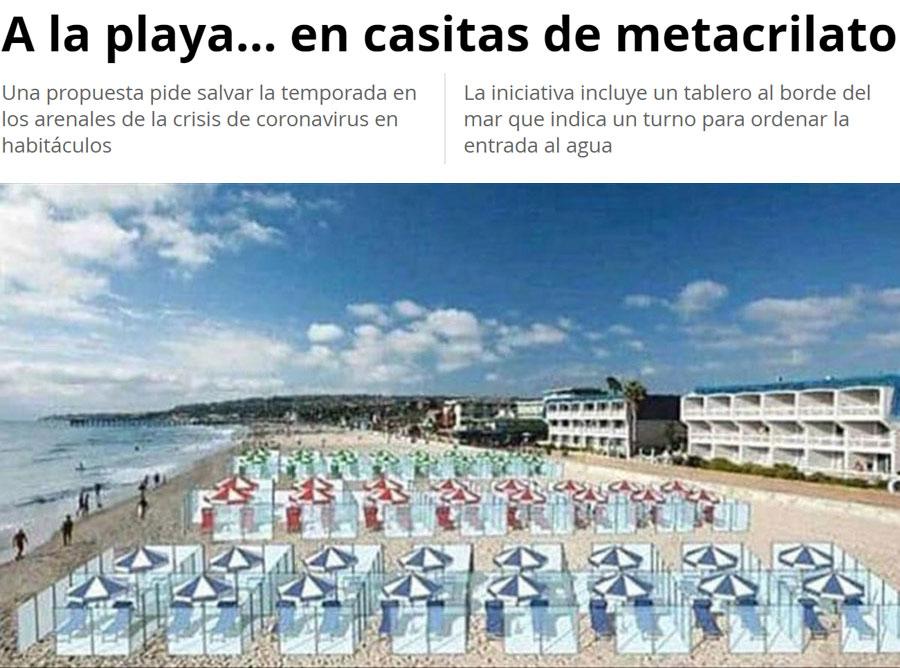 Playas con cubículos de metacrilato.